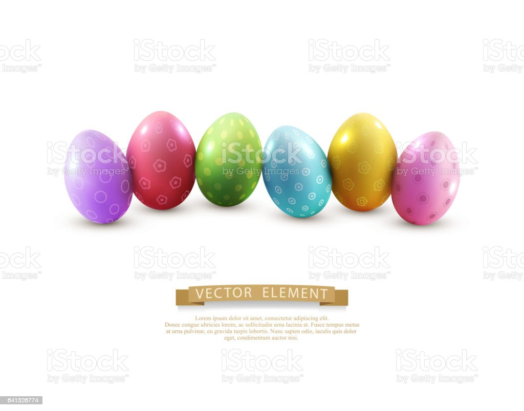 Vector easter eggs, isolated on white background. vector art illustration