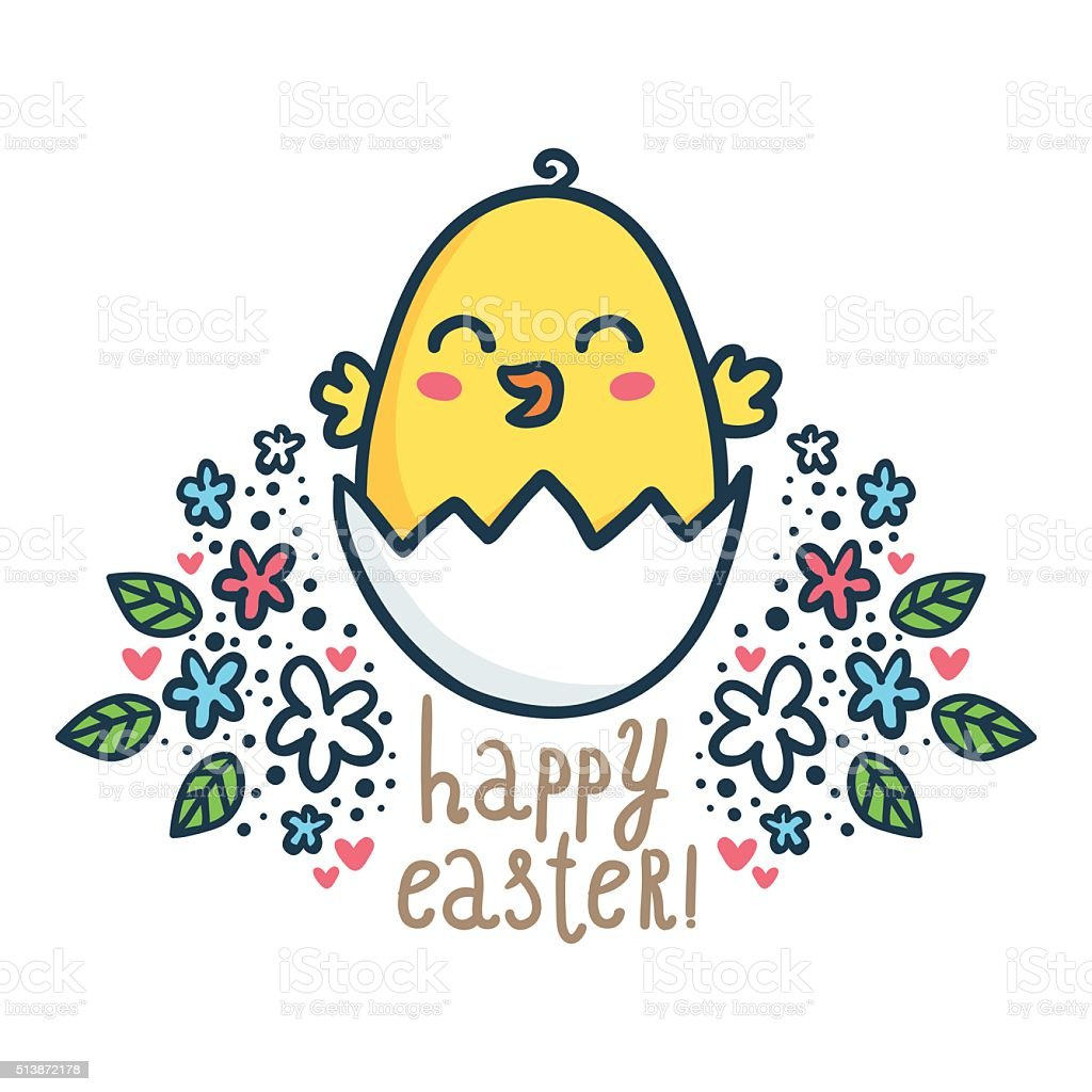 Vector Easter greeting card design template with cute sketchy chick vector art illustration