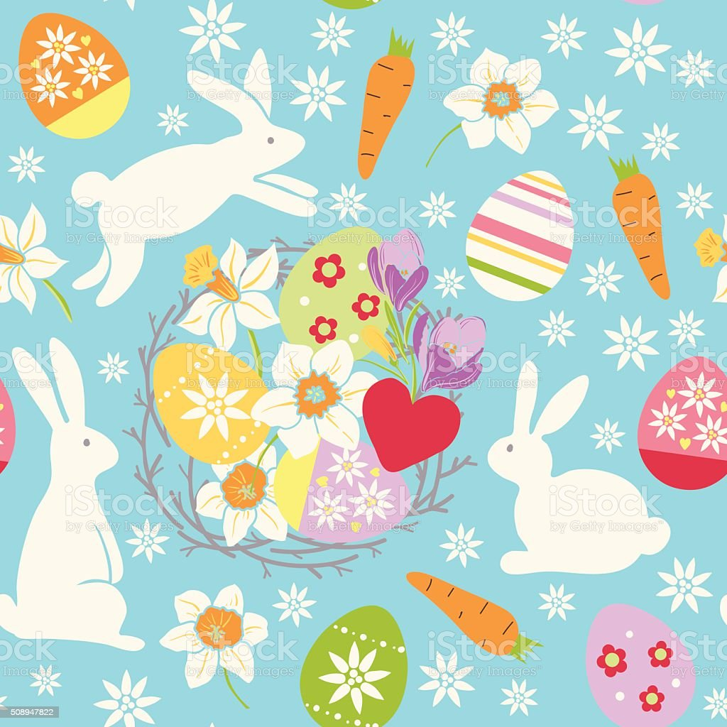 vector easter seamless pattern. vector art illustration