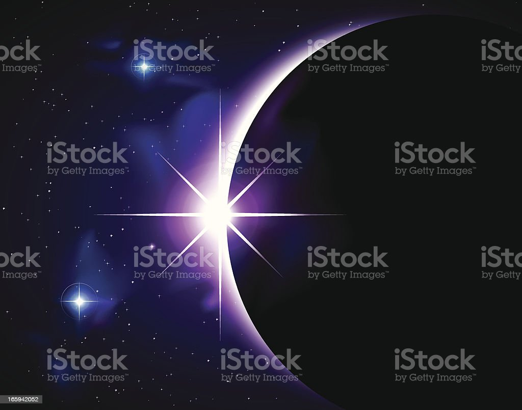 Vector eclipse on celestial star field vector art illustration