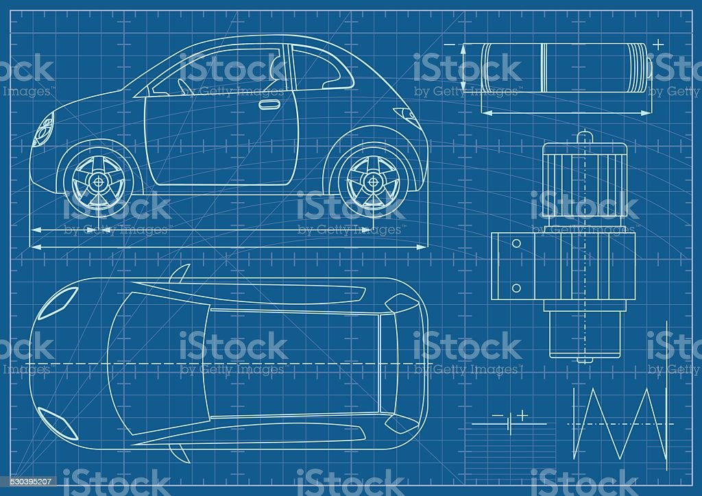 Vector Eco Car Blueprint vector art illustration