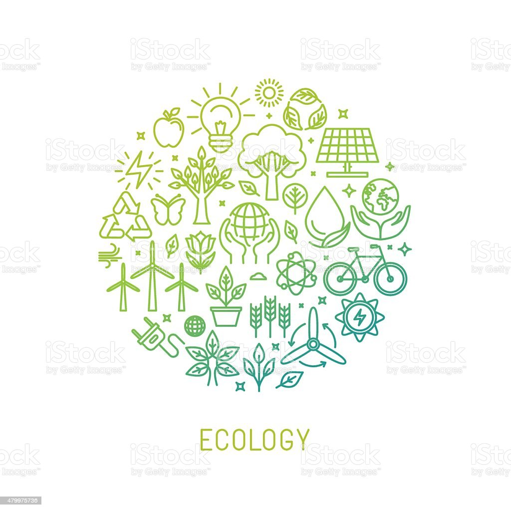 Vector ecology illustration with icons vector art illustration