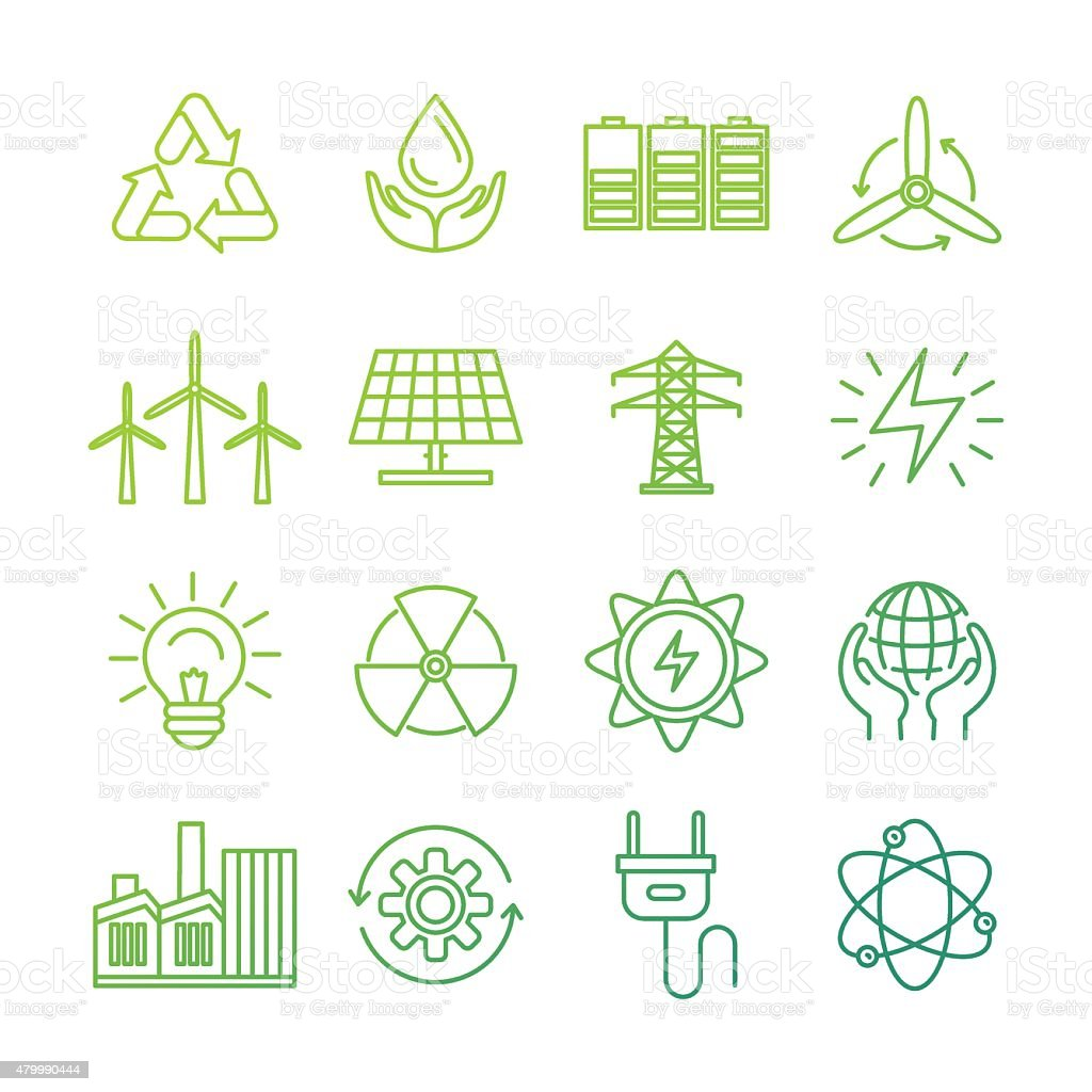 Vector ecology signs and icons vector art illustration