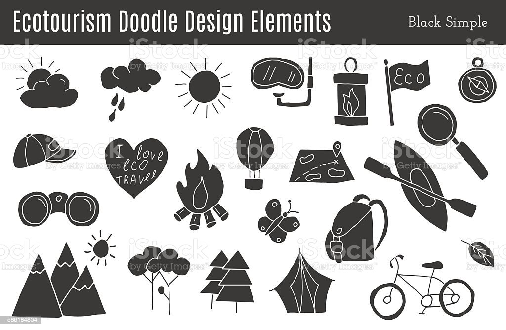 Vector ecotourism design elements isolated vector art illustration