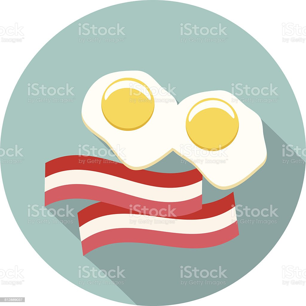 Vector eggs and bacon icon vector art illustration