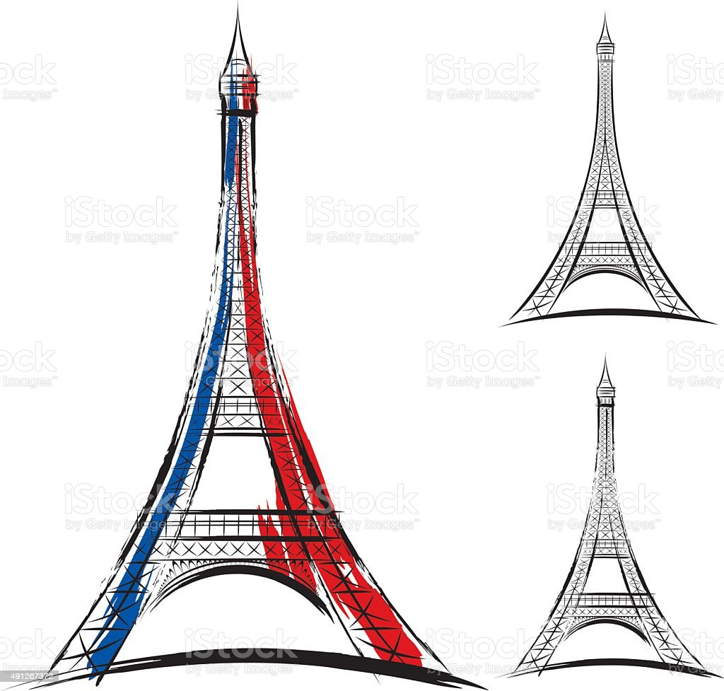 Vector eiffel tower on white background vector art illustration