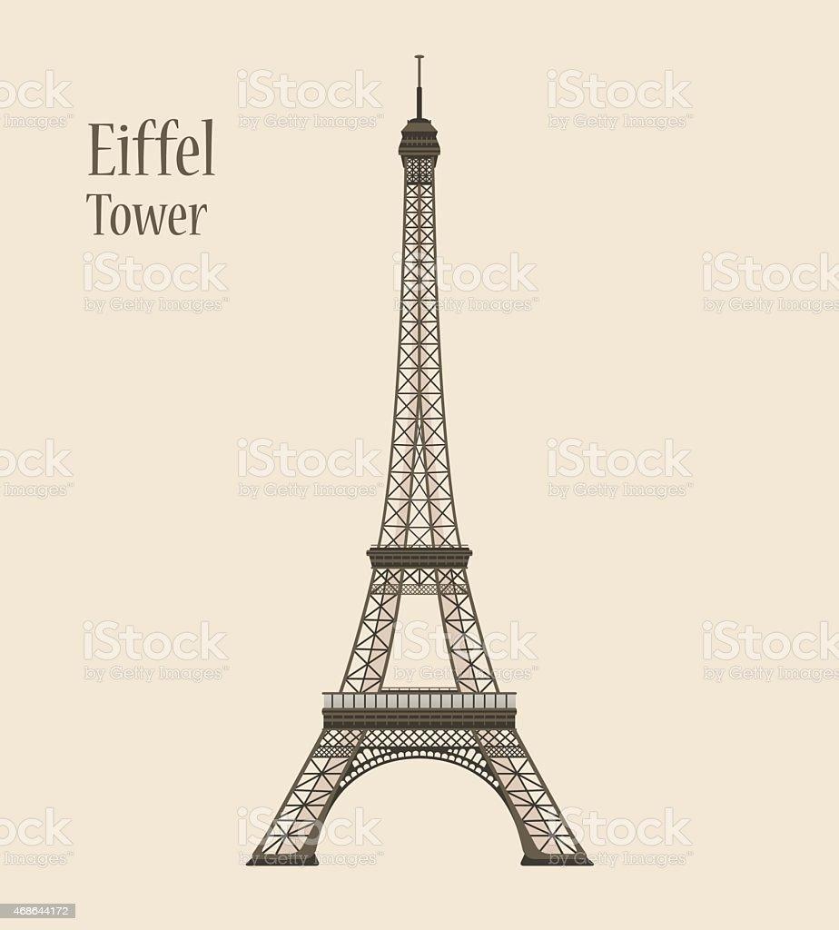 Vector Eiffel Tower - Silhouette Icon vector art illustration
