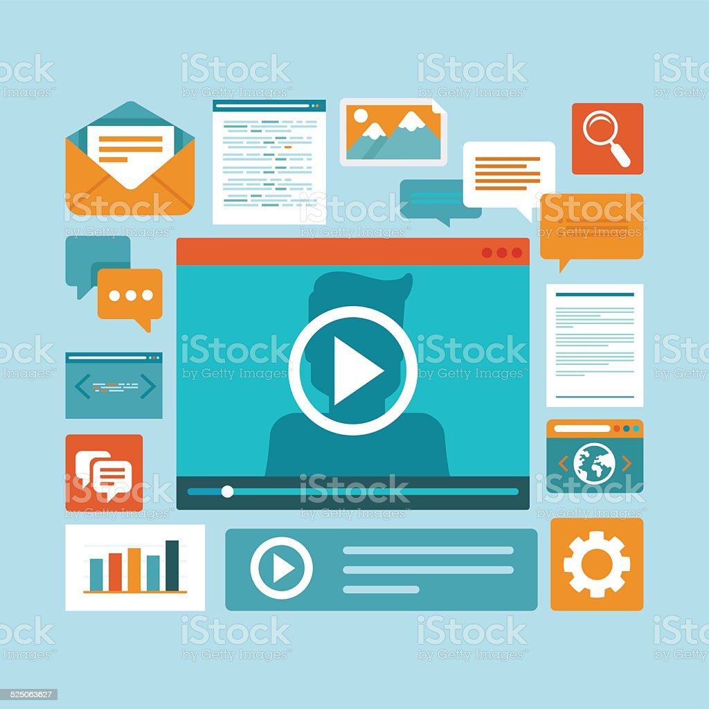 Vector e-learning concept in flat style vector art illustration