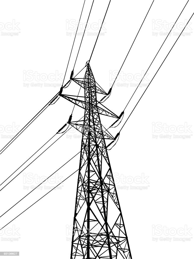 Vector electric pylon vector art illustration