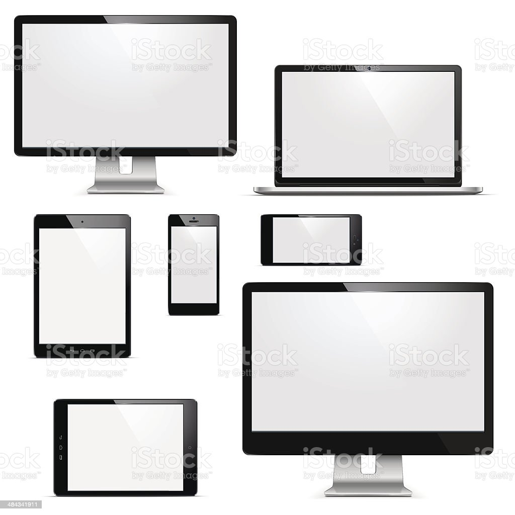 Vector electronic devices set vector art illustration