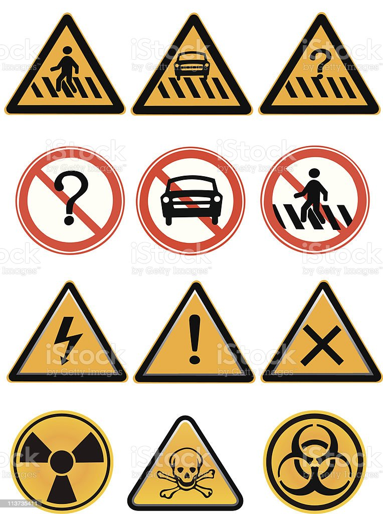 Vector element - a group of warning  sign royalty-free stock vector art