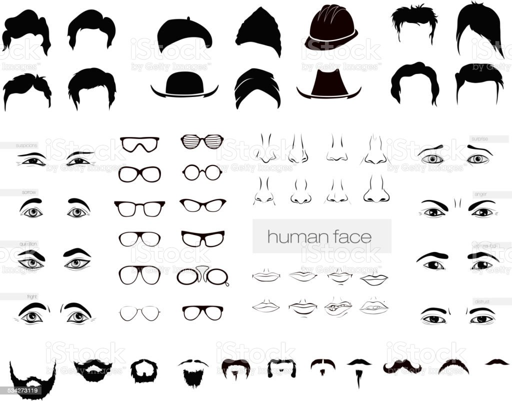 vector elements of a person vector art illustration