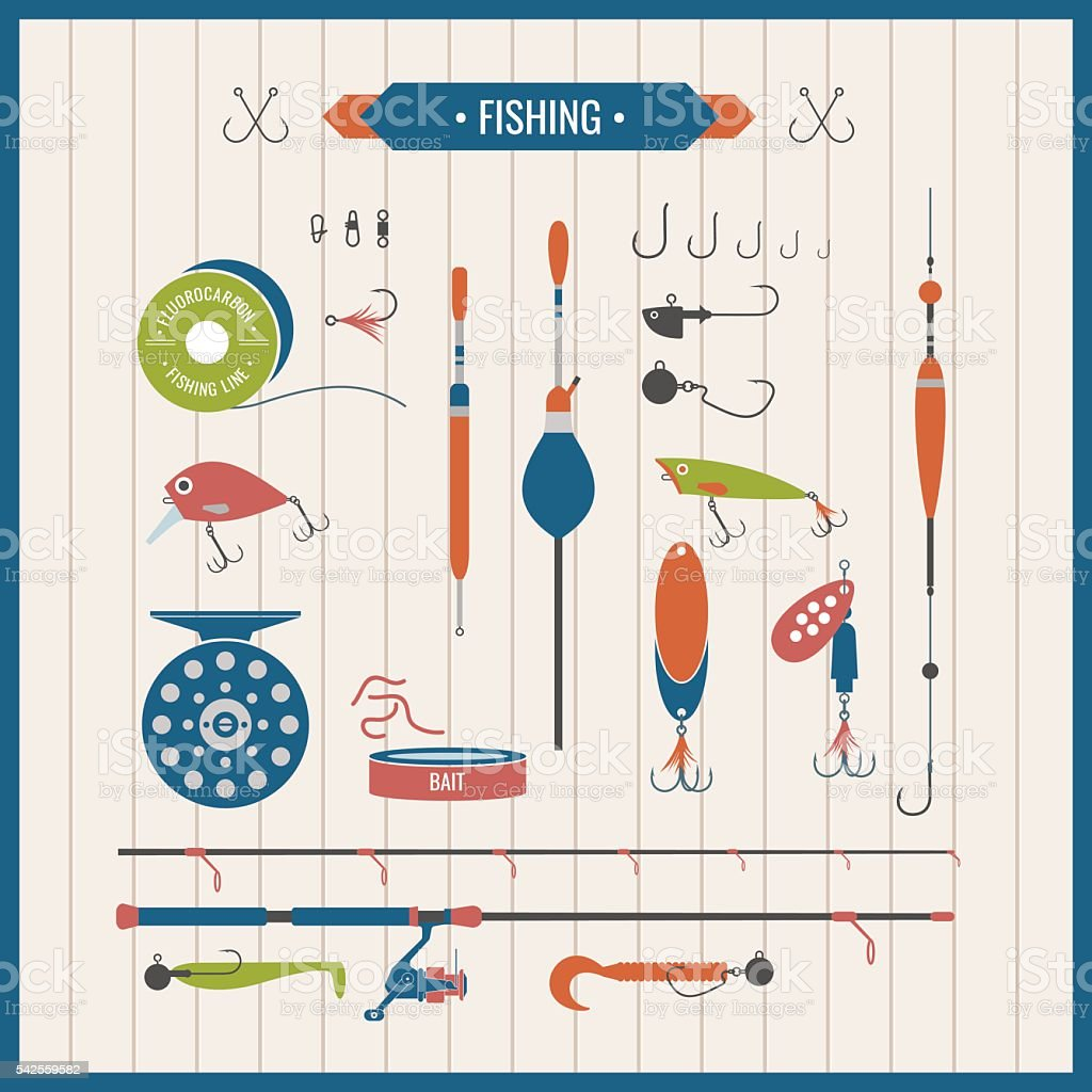 Vector elements of Fishing tackle in flat style vector art illustration