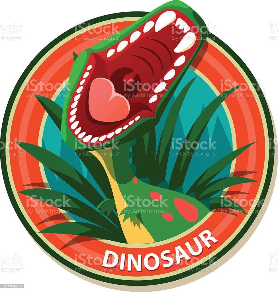 Vector emblem with roaring dinosaur - stock illustration vector art illustration