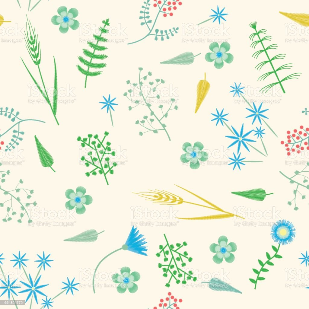 Vector Embroidery seamless pattern with Forest plants and Field wildflowers. vector art illustration