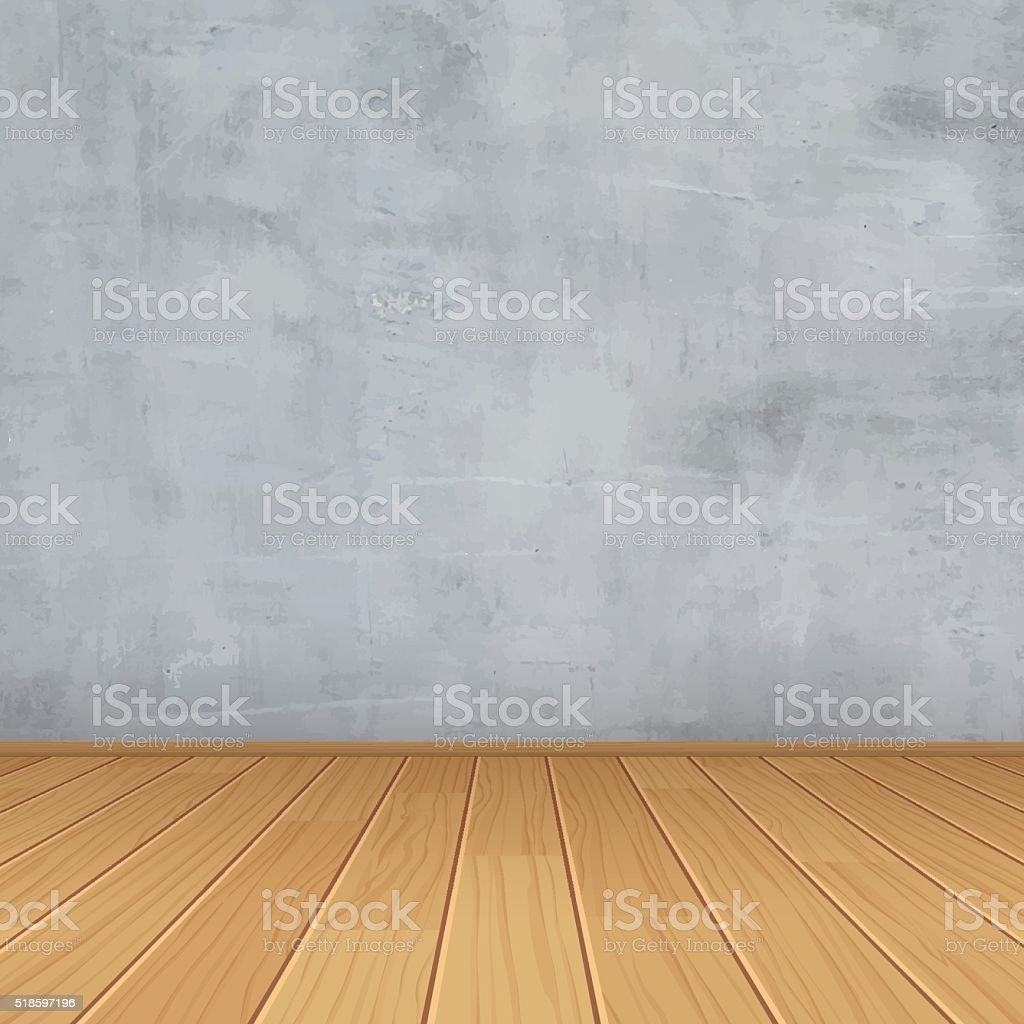 vector empty room with concrete wall and wooden floor vector art illustration