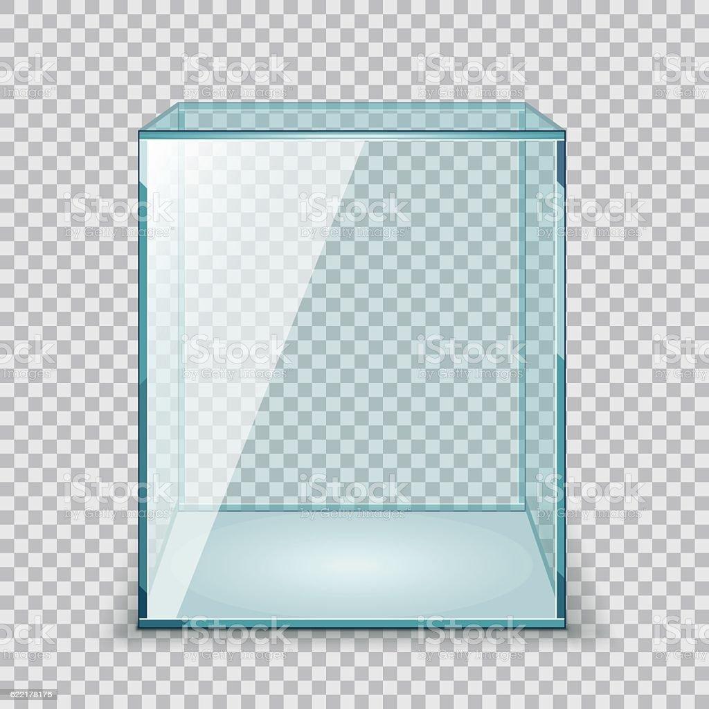 Vector Empty Transparent Glass Box vector art illustration