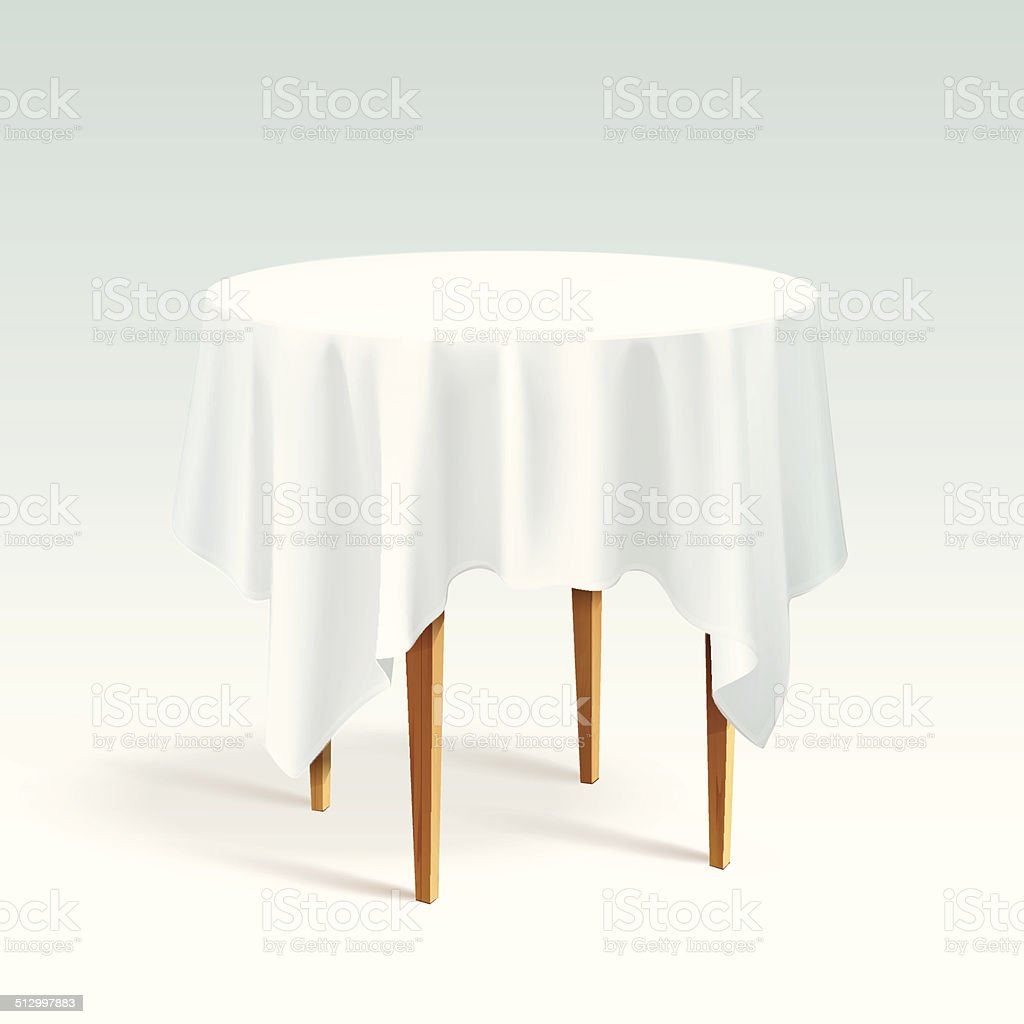 Vector Empty Wood Round Table with Tablecloth Isolated on White vector art illustration