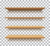vector empty wooden shelf isolated background