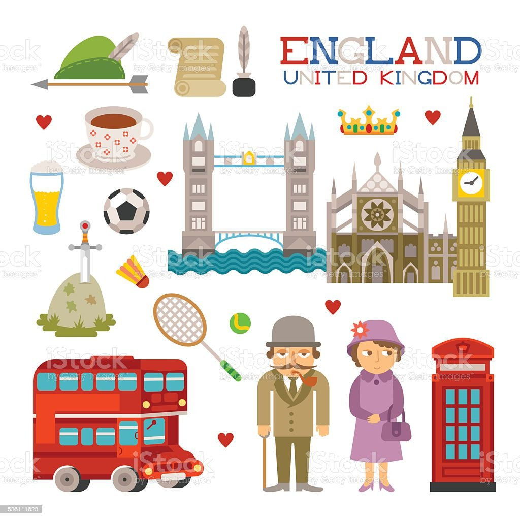 Vector England flat style art for travel and tourism vector art illustration