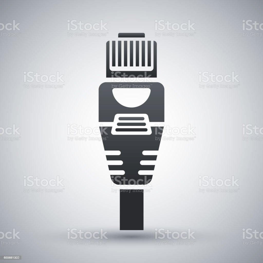 Vector Ethernet Connector with Cable icon. vector art illustration