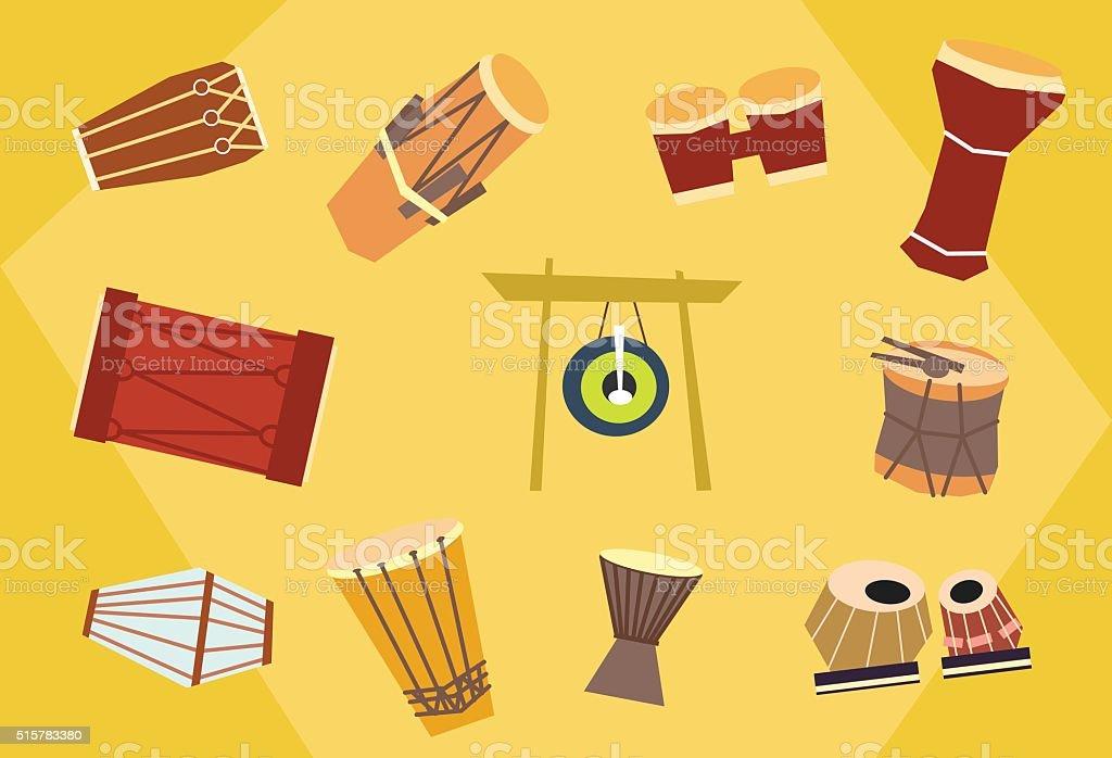 Vector ethnic drums vector art illustration
