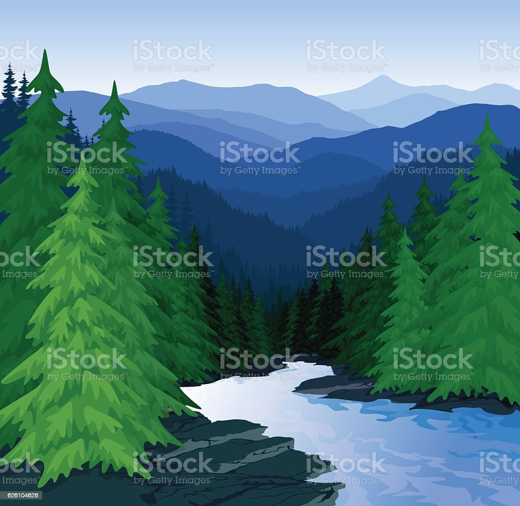 vector evening in beautiful mountains forest with river vector art illustration