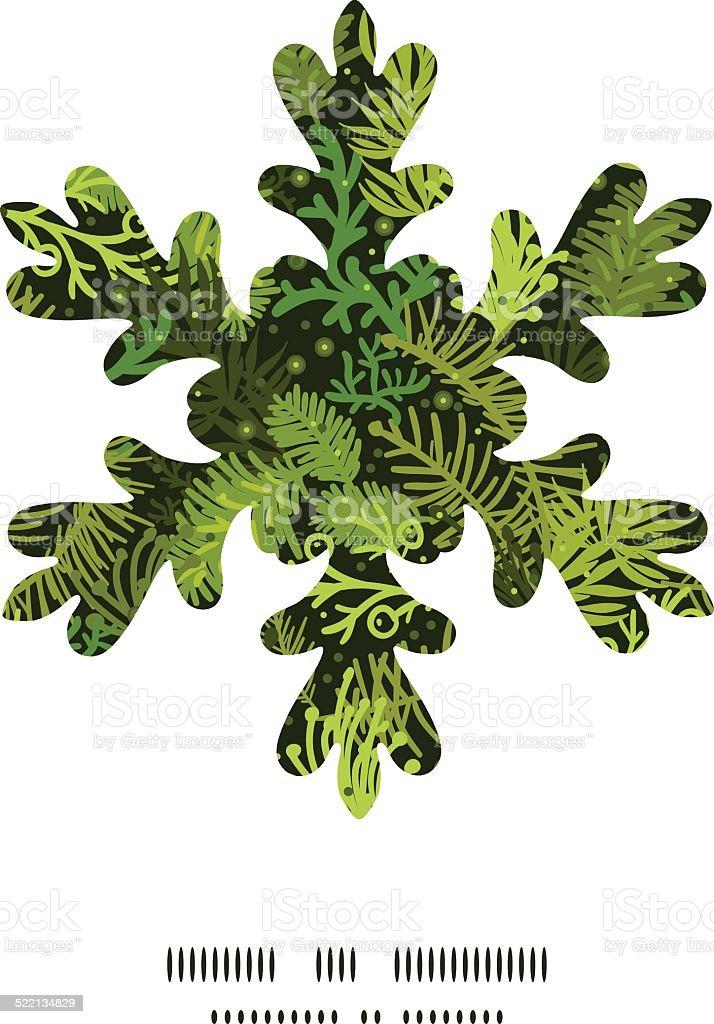 Vector evergreen christmas tree Christmas snowflake silhouette pattern frame card vector art illustration