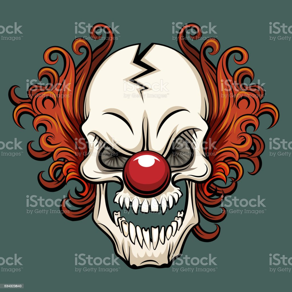 Vector evil clown vector art illustration