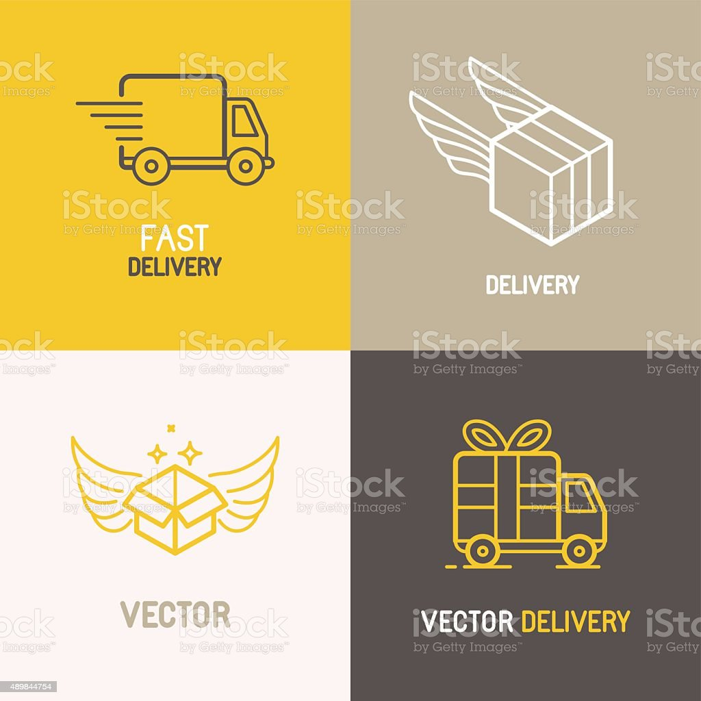 Vector express delivery service logo vector art illustration