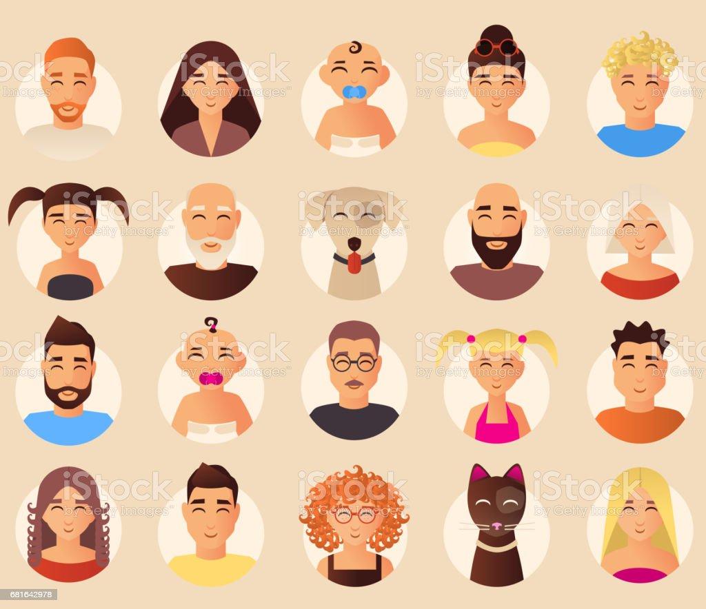 Vector family avatars icons set in flat style vector art illustration