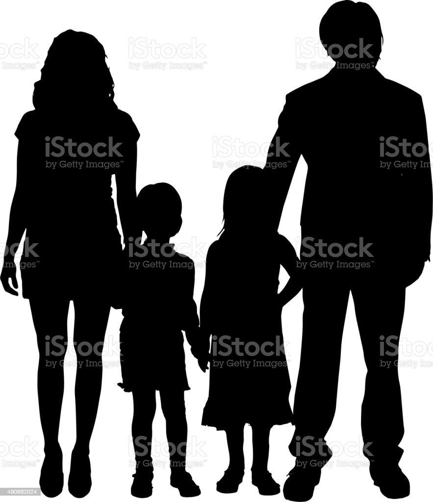 Vector family silhouette. vector art illustration
