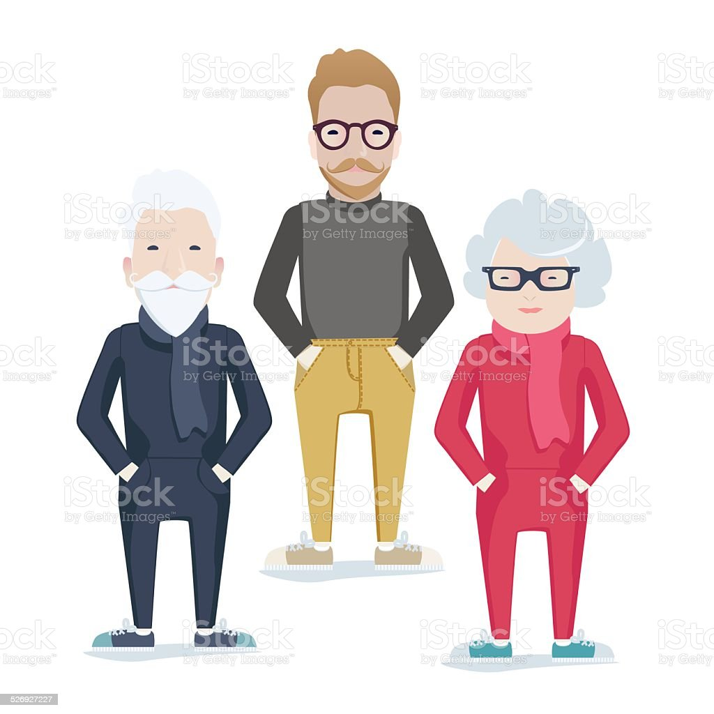 Vector family with elderly parents and son vector art illustration
