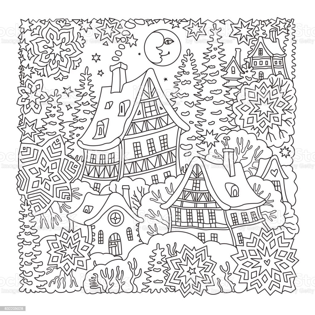vector fantasy landscape fairy tale old medieval town house fir