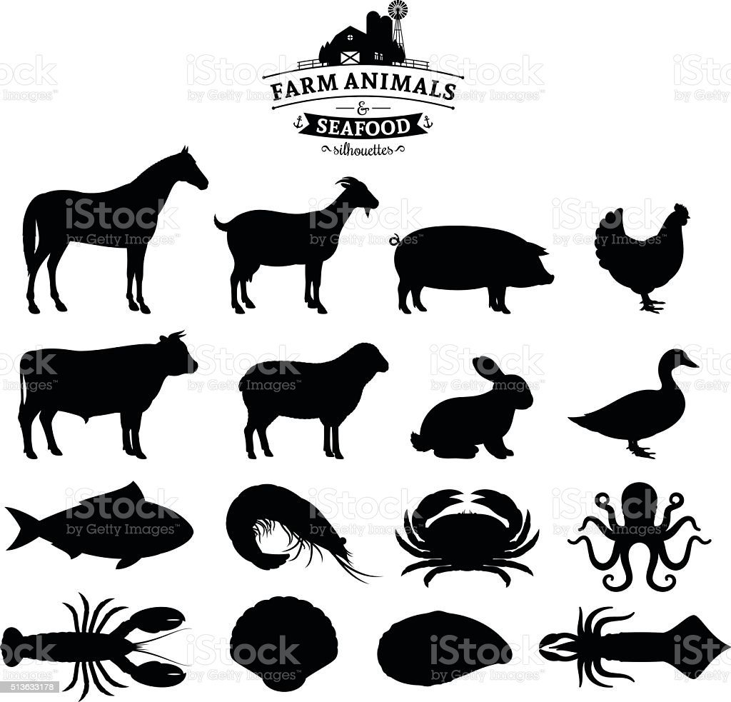 Vector Farm Animals and Seafood Silhouettes Collection vector art illustration