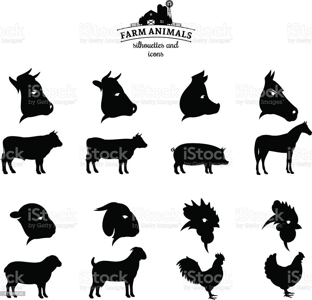 Vector Farm Animals Silhouettes and Icons Isolated on White vector art illustration