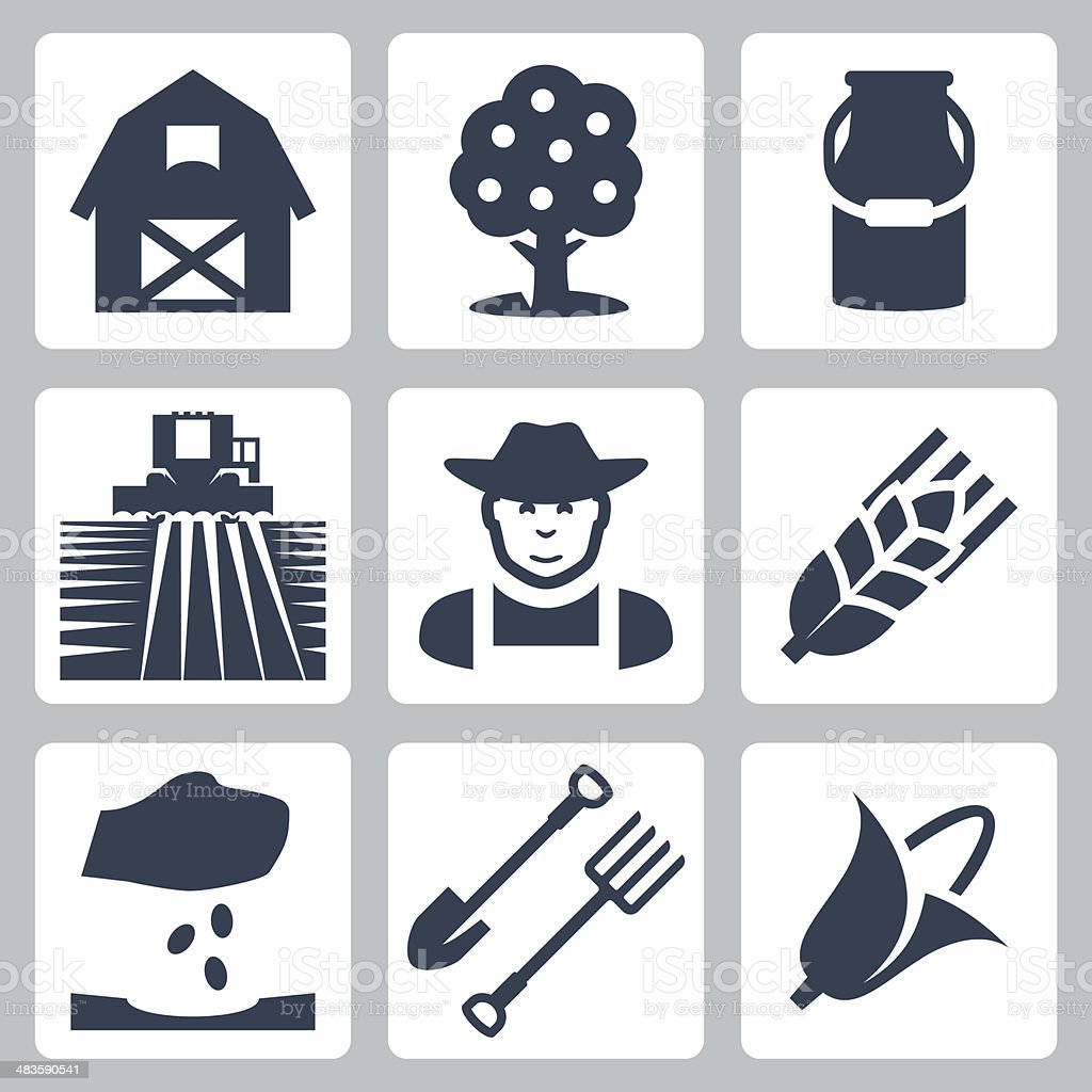Vector farming icons set royalty-free stock vector art