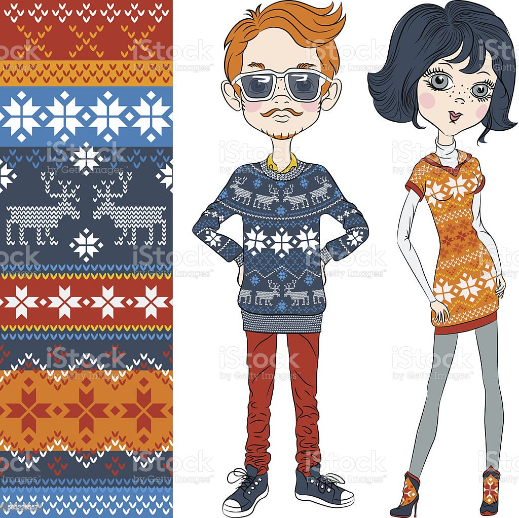 vector fashion hipster boy and girl in knitted sweaters royalty-free stock vector art