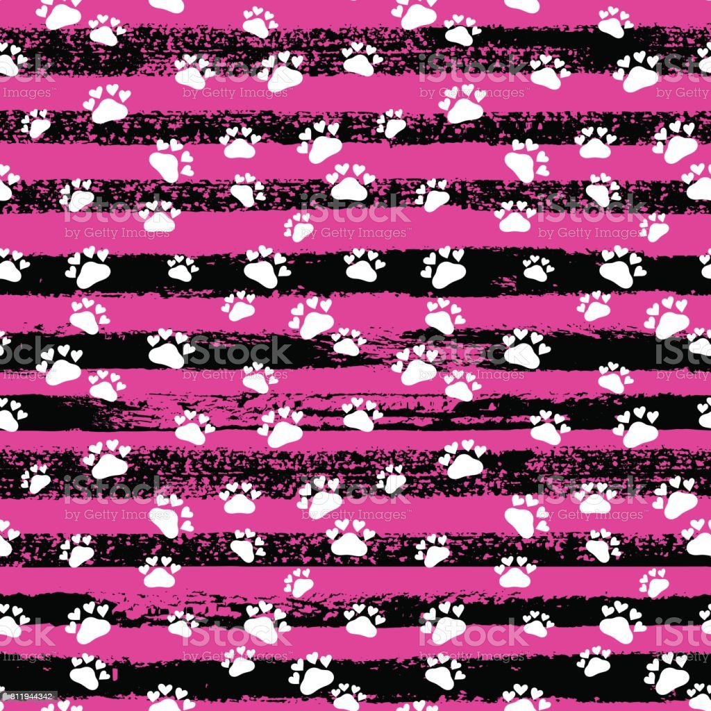 Vector fashion seamless pattern with cat's trace, hand drawn stripes. Pop art ink fabric texture. vector art illustration