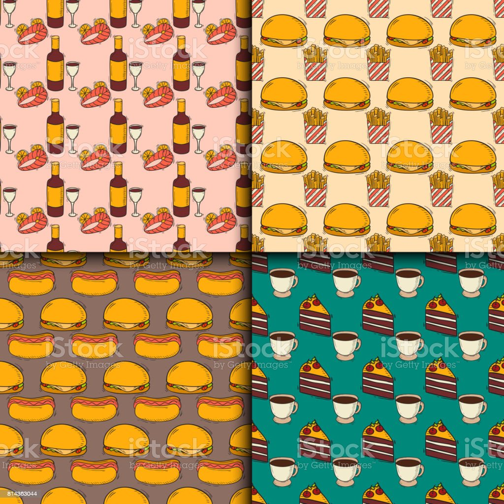 Vector fast food seamless pattern hand drawn restaurant breakfast design kitchen unhealthy background vector art illustration