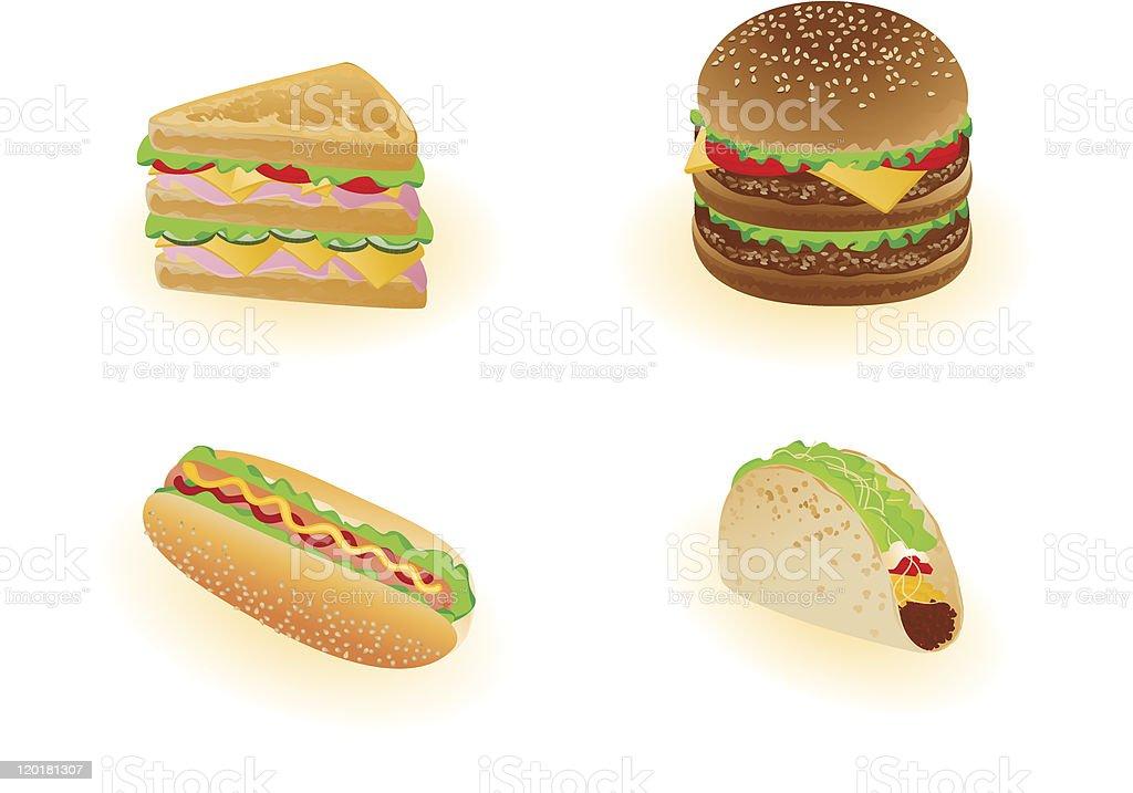 Vector fast food vector art illustration