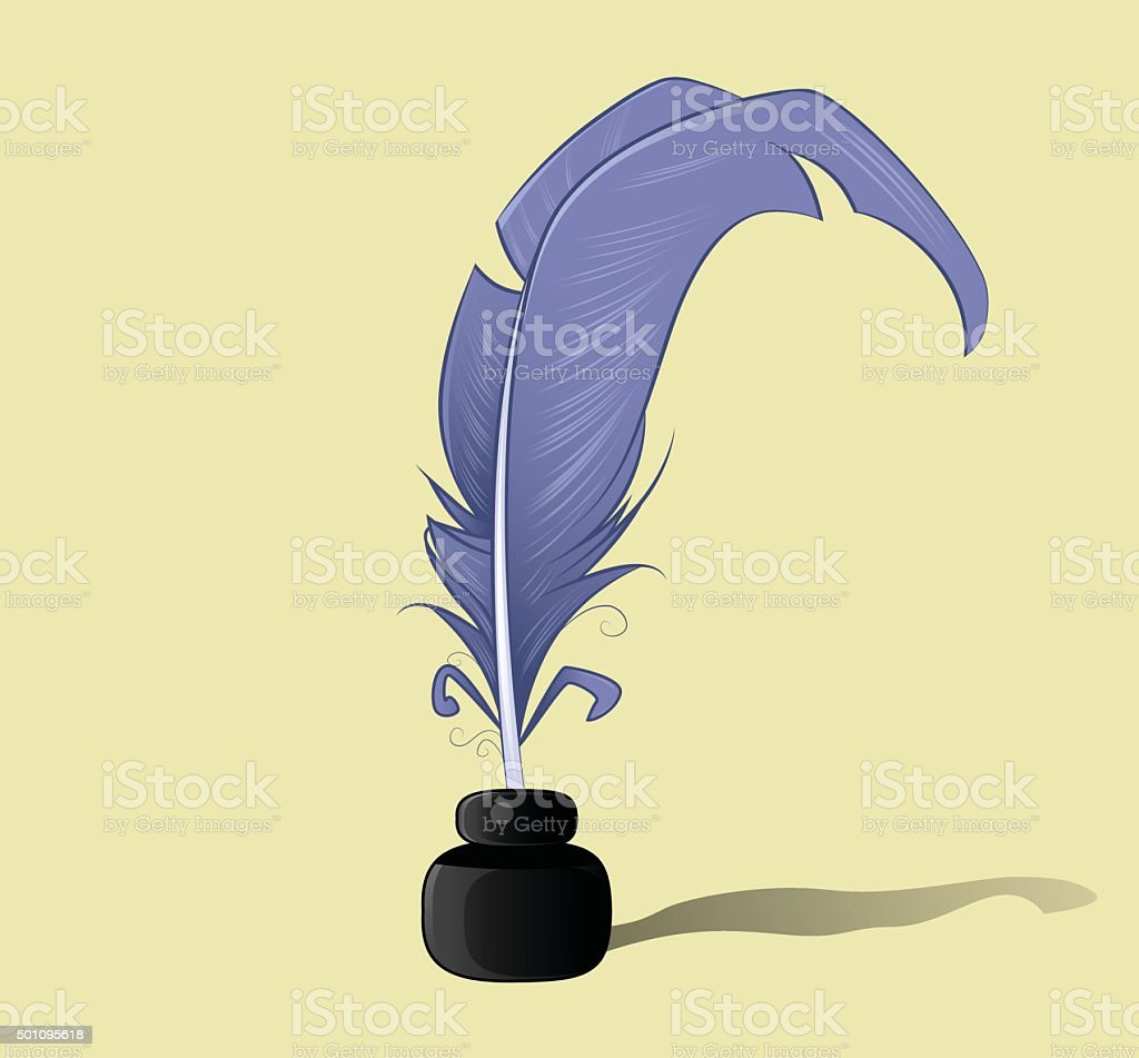 Vector feather and ink bottle icon vector art illustration