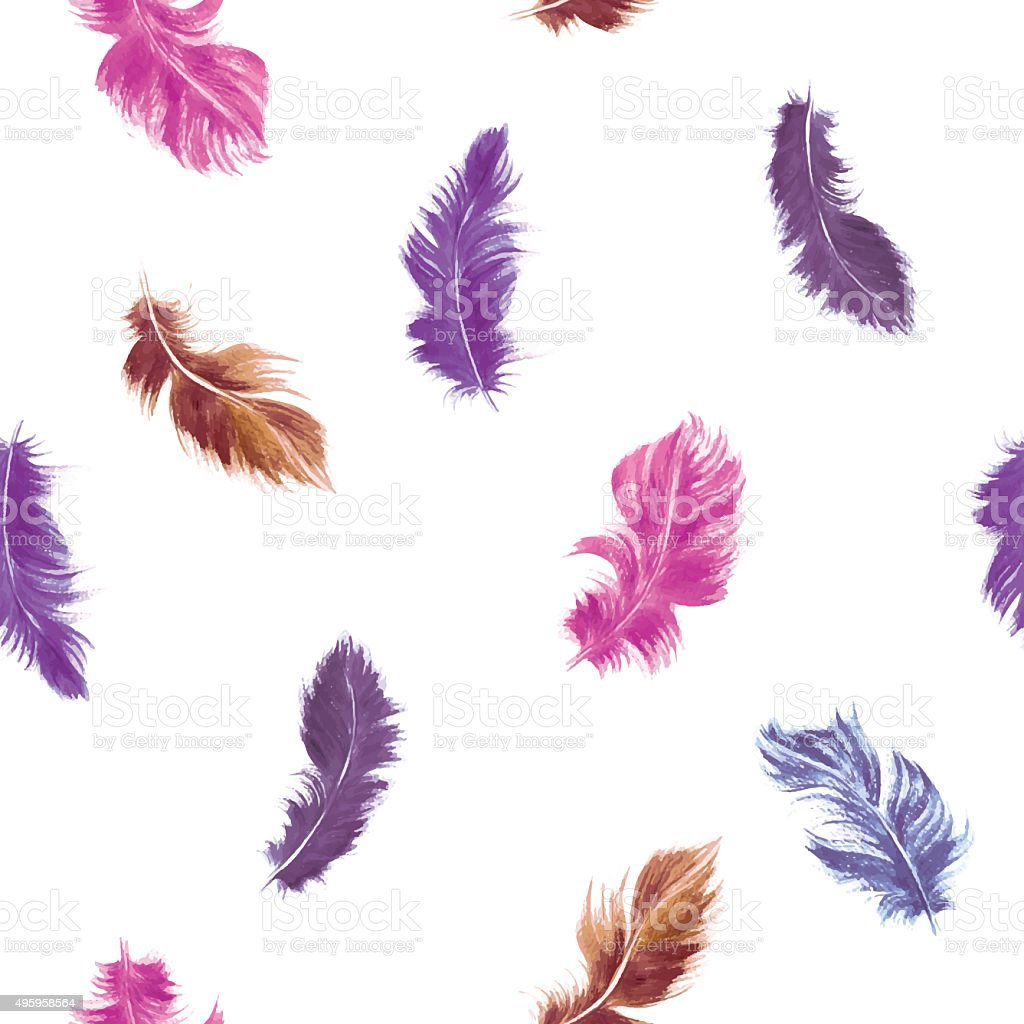 Vector feather seamless pattern in pink and purple vector art illustration