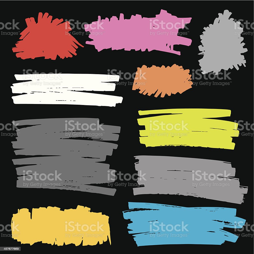 vector felt pen stains set 6 vector art illustration
