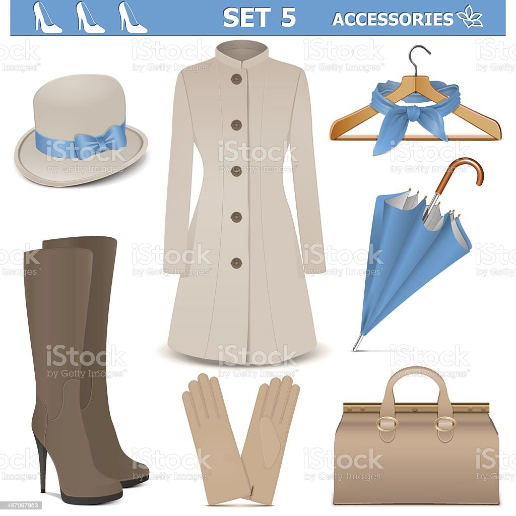 Vector Female Accessories Set 5 vector art illustration
