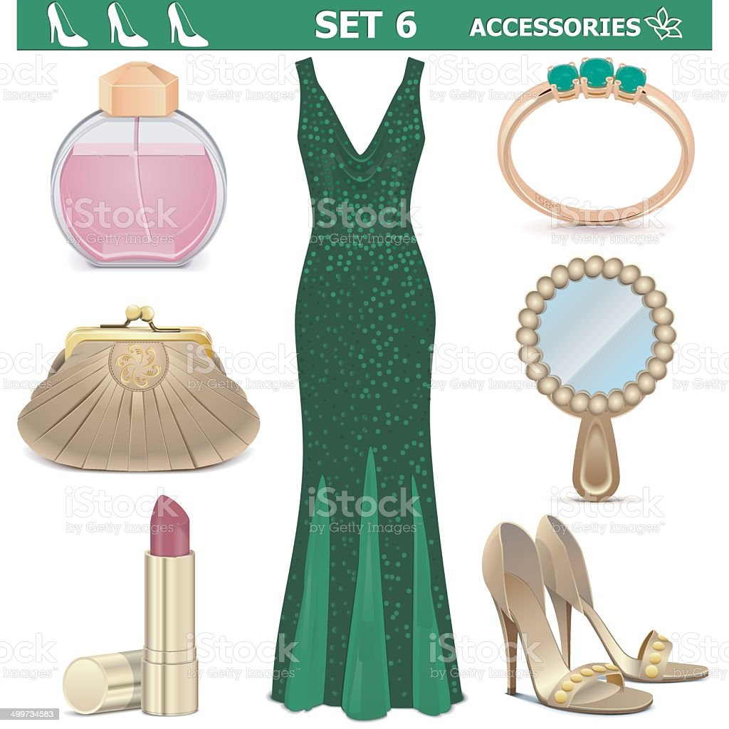 Vector Female Accessories Set 6 vector art illustration