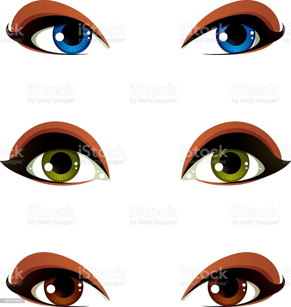 Vector female eyes collection in different emotion vector art illustration
