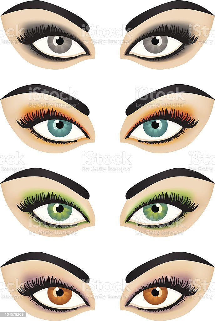 Vector female eyes with make-up vector art illustration