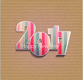 Vector festive background with striped figures numbers 2017