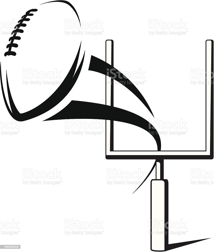 Vector field goal graphic in black and white vector art illustration